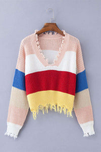 Tiefem V-Ausschnitt Quasten Rainbow Stripes Crop Sweater - Lupsona