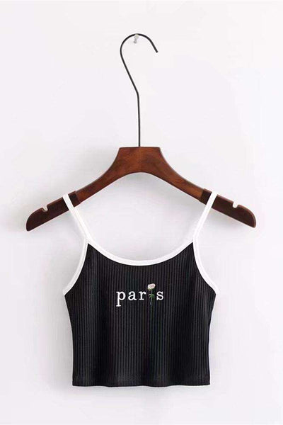 Paris Rose Embroidery Strappy Crop Top