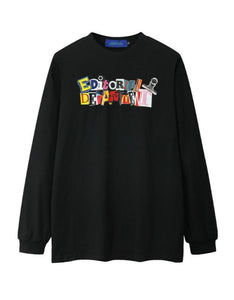 letters printed long sleeved o neck sweatshirt