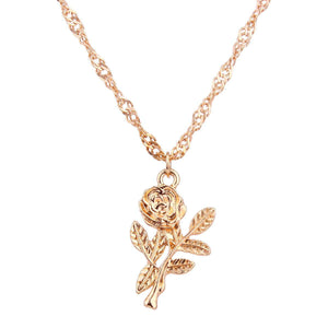 Rose Pendants Multi-lag Diamond Chain Necklace Set - Lupsona