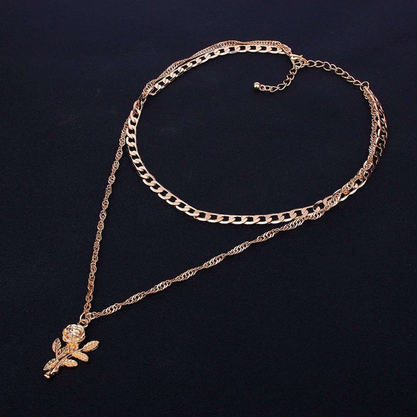 Rose Colgantes Multi-layer Diamond Chain Necklace Set