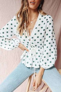 Deep V Neck Polka Dots Pattern Blouse Top - Lupsona