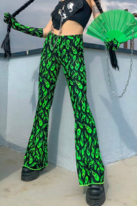 punk green flame printed slim wide-leg pants - Lupsona