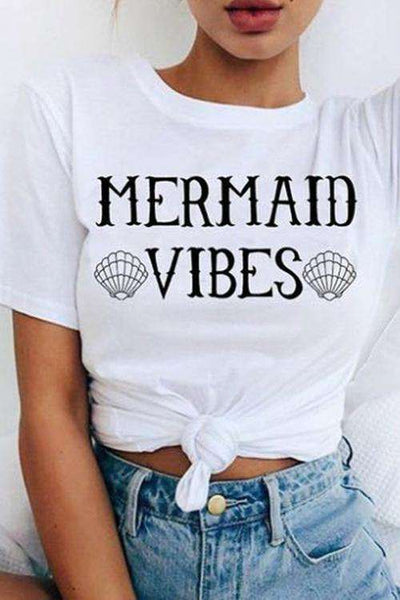 MERMAID VIBES Print Short Sleeve Basic T-shirt