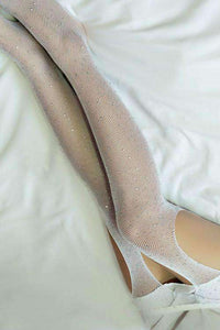 Open Crotch Shiny Rhinestone Fishnet Tights Mesh Pantyhose