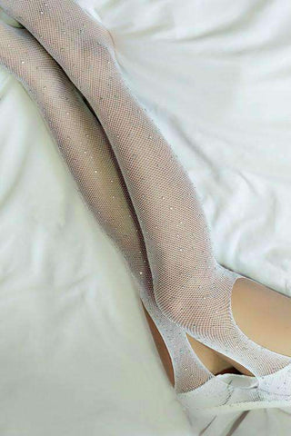 Buka Crotch Shiny Rhinestone Fishnet Tights Mesh Pantyhose