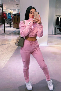 sweet pink front zipper casual sweatshirt pants women set - Lupsona