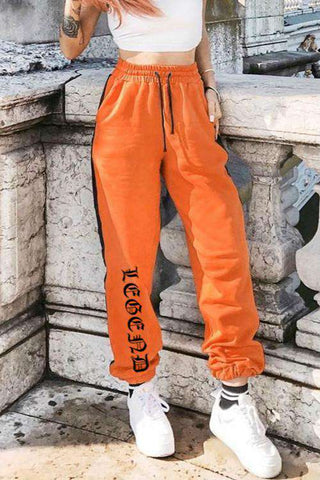 Gothic Letters Side Lined Elastic Casual Jogger Pants