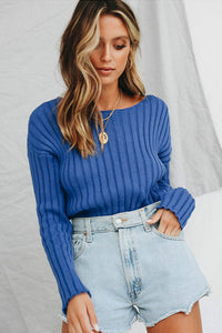 crewneck solid color basic knitted top sweater - Lupsona