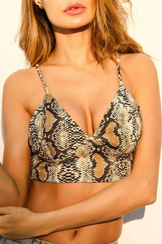 Deep V Backkrees Schlangeendruck Strappy Crop Top