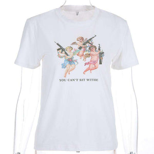 angels with gun printed short sleeved t-shirt - Lupsona