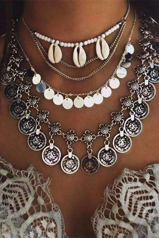 Boho Multilayers Shell Choker Coin Neckleace Sæt