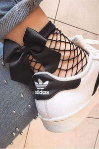 Bowknot Spliced ​​Cute Fishnet Nogavice - Lupsona