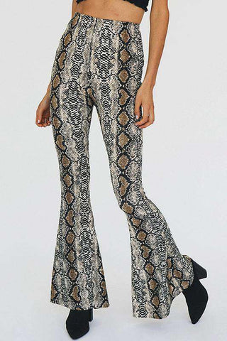 Boho Snake Print Bell-bottoms Flared Pants