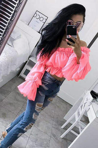 neon Faarf Puff sleeved Slash Neck Crop Top - Lupsona