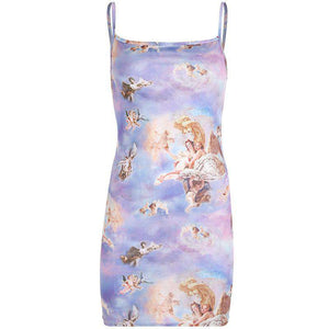 strappy cute angels printed slim dress
