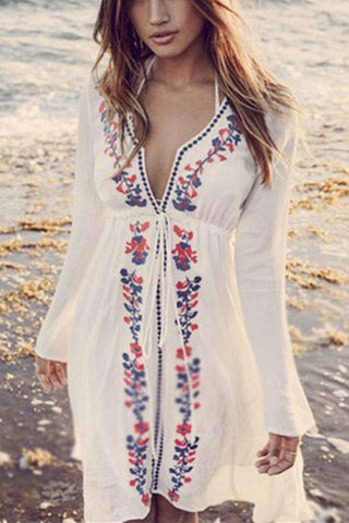 Deep V Neck Flower Broderi Beach Dress