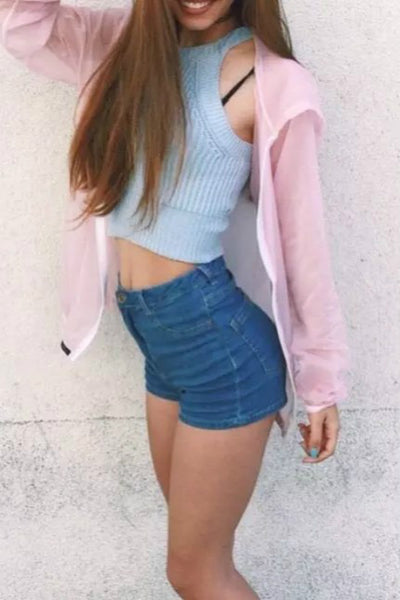 halter solid color knitted slim crop top