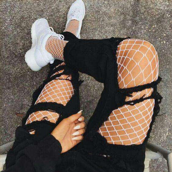 White Fishnet Wings Jeans-mate Mesh Pantyhose