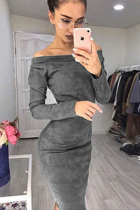 Off-the-shoulder Suede Elegant Midi Dress - Lupsona