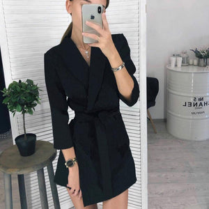 turn-down collar belted slim blazer dress