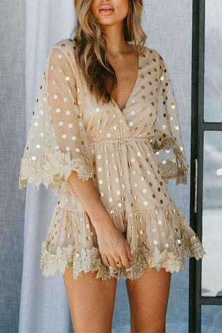 Floral Lace Polka Dots Flare Sleeve Mini Dress