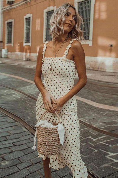 strappy polka dots elastic slim dress