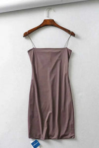 Basis strappy Solid Faarf Bodycon Mini Kleed - Lupsona