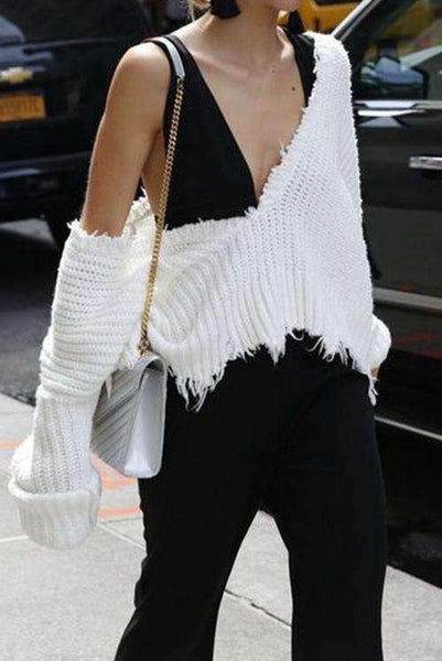 Deep V Neck Tassels Óreglulegur Loose Crop Sweater - Lupsona