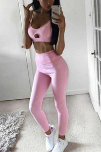 Pink Hollow Out Skinny Sports Set - Lupsona