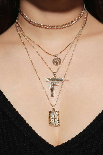 Anti-oorlogs Cross Multi-layer Collarbone Ketting