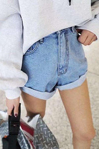 5 Farger Casual Valset Hem Denim Shorts - Lupsona