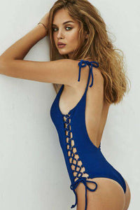 strappy side lace-up hollow out swimsuit - Lupsona