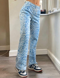 blue leopard printed high waisted straight leisure pants