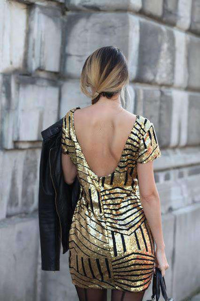 Backless Gold Sliver Sequins Short Sleeved Dress - Lupsona