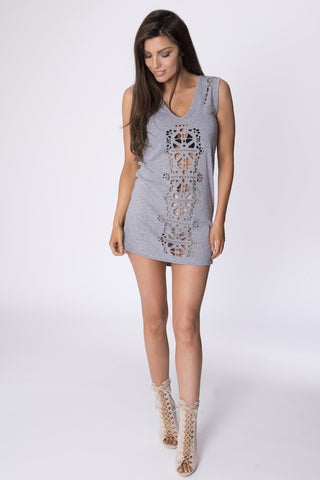LANNISTER CUT OUT DRESS - GREY