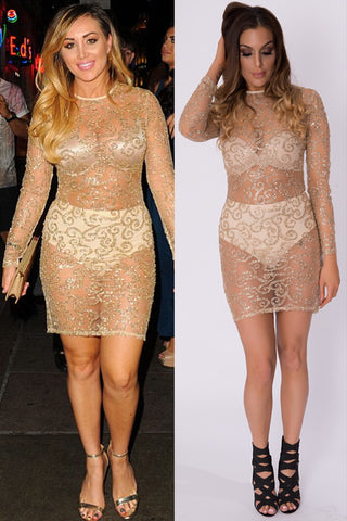 TENIA SHEER GOLD DRESS