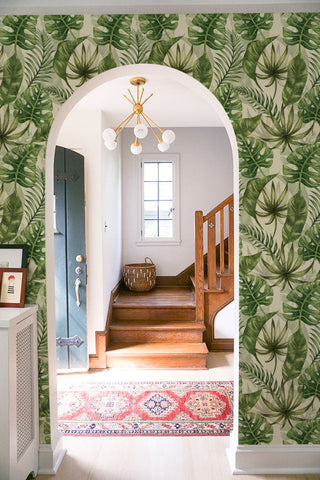 Greenery home decor tropical leaves wallpaper