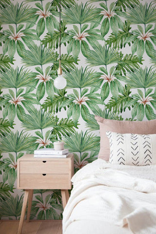 Greenery home decor Hawaiian style wallpaper
