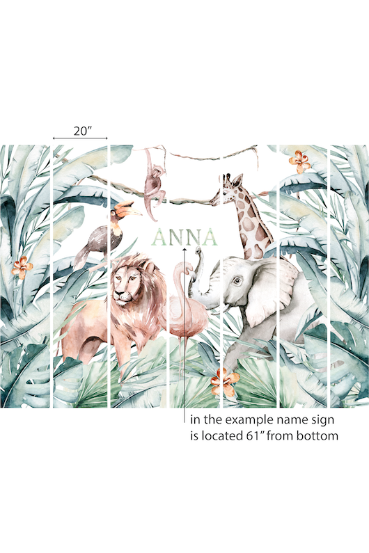 Animals name sign nursery wallpaper
