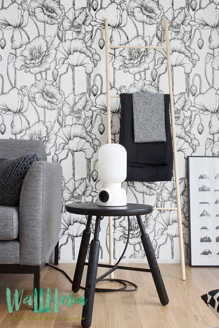 MONOCHROME POPPY REMOVABLE WALLPAPER