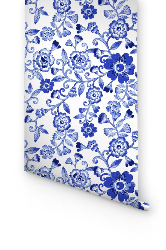 BLUE FLORAL WALLPAPER