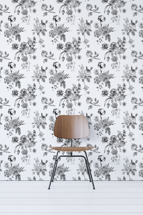 Black And White Floral Removable Wallpaper