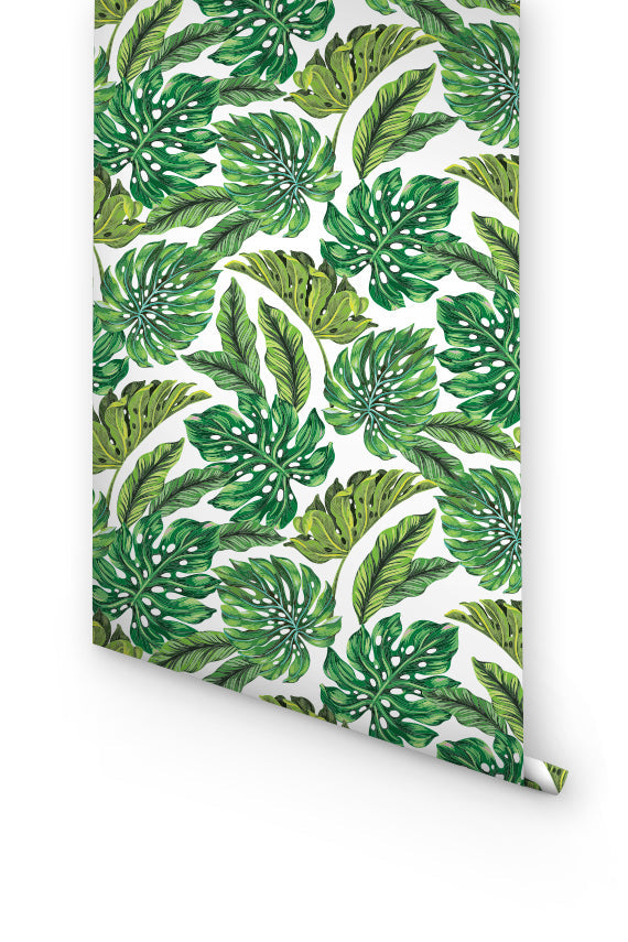 BOHEMIAN WALLPAPER WITH GREEN LEAVES