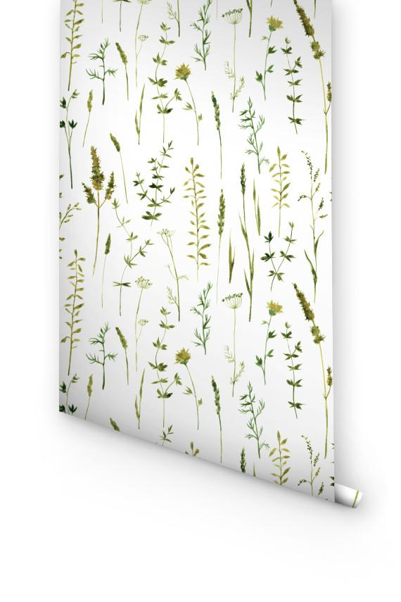 GREEN BOTANICAL REMOVABLE WALLPAPER
