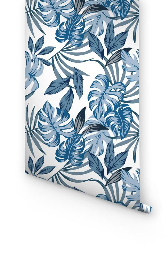 BLUE PALM LEAVES PEEL AND STICK WALLPAPER