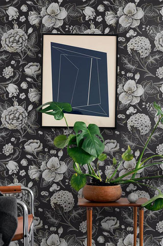 dark floral rose removable wallpaper