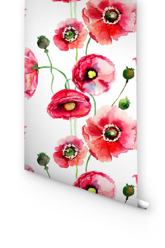 RED WATERCOLOR POPPY REMOVABLE WALLPAPER