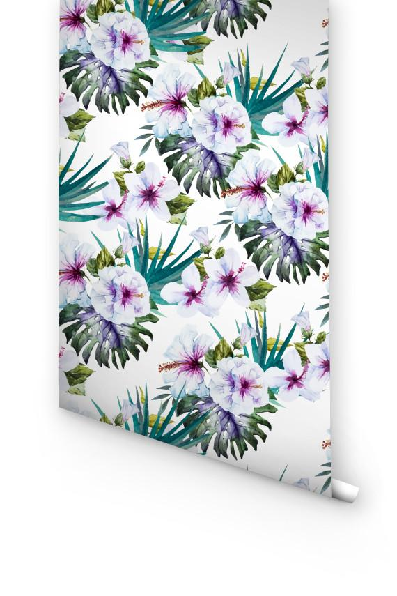 TROPICAL FLORAL REMOVABLE WALLPAPER