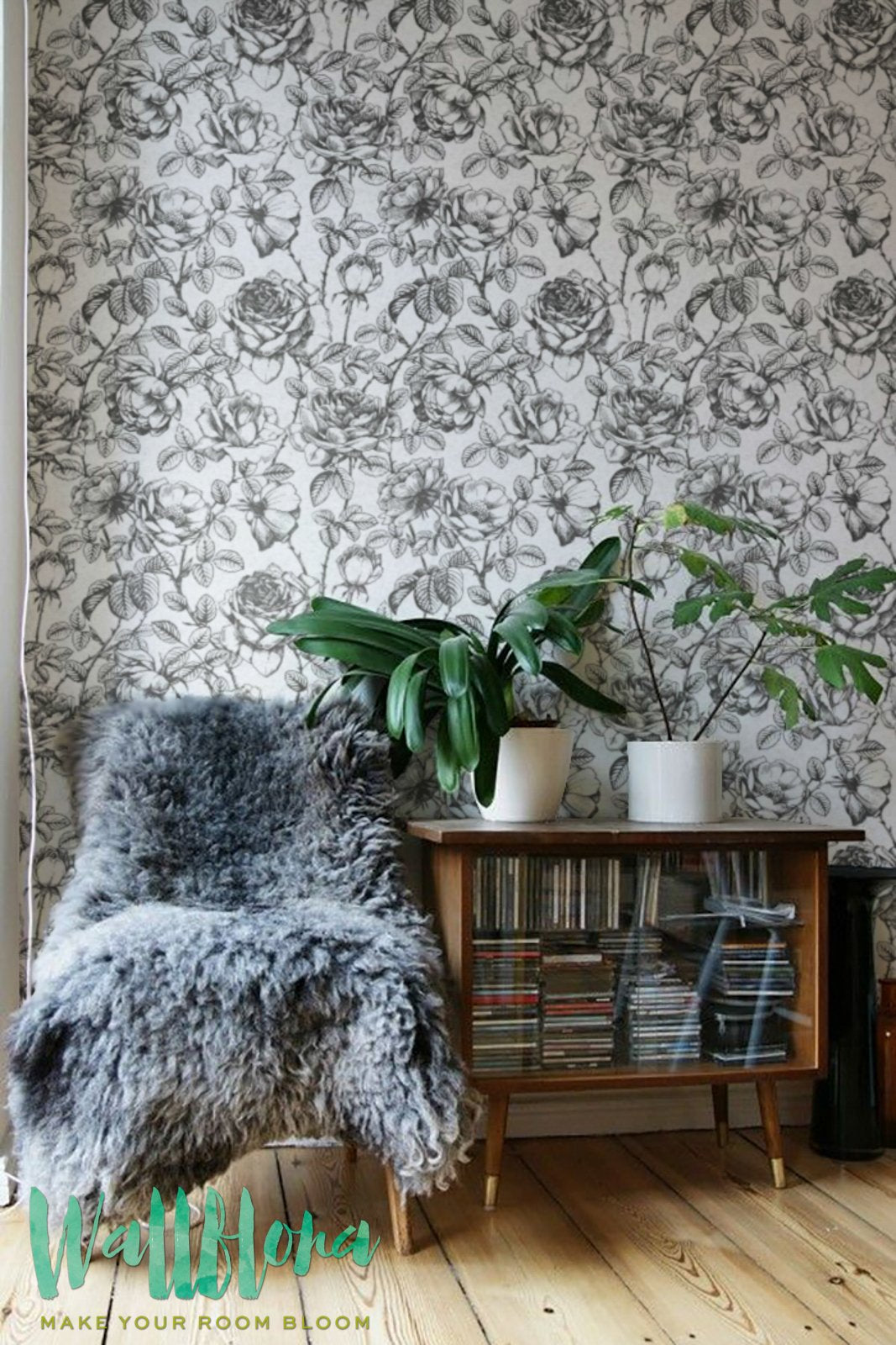 BLACK AND WHITE ROSES REMOVABLE WALLPAPER